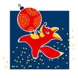 Cute fox animal mascot with xmas ball vector illustration Stock Photos