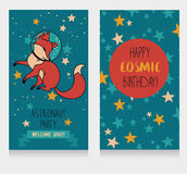 Cute fox-astronaut on starry background, funny invitation cards for cosmic birthday party Stock Photo