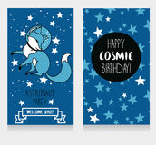 Cute fox-astronaut on starry background, funny invitation cards for cosmic birthday party Royalty Free Stock Photography
