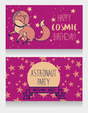Cute fox-astronaut on starry background, funny invitation cards for cosmic birthday party Stock Image