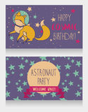 Cute fox-astronaut on starry background, funny invitation cards for cosmic birthday party Royalty Free Stock Images