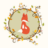 Cute Fox and Autumn Leaves Royalty Free Stock Photo