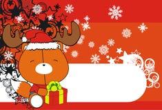 Cute fox baby xmas cartoon background Royalty Free Stock Photography