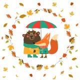 Cute fox and bear hugging under umbrella in wreath Royalty Free Stock Photos