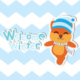 Cute Fox on blue chevron background vector cartoon, Baby shower postcard, wallpaper, and greeting card, T-shirt design for kids Stock Photos