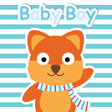 Cute Fox on blue striped background  cartoon, Baby shower postcard, wallpaper, and greeting card, T-shirt design for kids Royalty Free Stock Photography