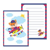 Cute fox boy as little pilot on the sky  cartoon illustration for kid paper card design Royalty Free Stock Image