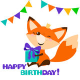 Cute fox with bright gift. Happy birthday card design. Royalty Free Stock Image