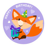 Cute fox with bright gift. Happy birthday card design. Stock Photography