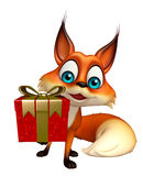 Cute Fox cartoon character with gift box Royalty Free Stock Photos