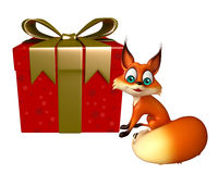 Cute Fox cartoon character with gift box Stock Images