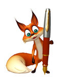 Cute Fox cartoon character with pen Stock Image
