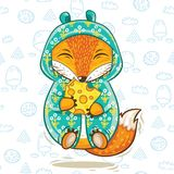 Cute fox cartoon character with a piece of cheese Royalty Free Stock Image