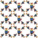 Cute Fox in cartoon style. Seamless pattern stock illustration