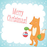 Cute fox Christmas greeting card Royalty Free Stock Image