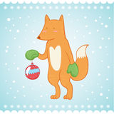 Cute fox Christmas greeting card Royalty Free Stock Photos