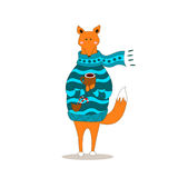 Cute fox christmas holiday greeting card vector. Stock. Fox wearing scarf and pullover Stock Photo