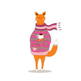 Cute fox christmas holiday greeting card vector. Stock. Fox wearing scarf and pullover Royalty Free Stock Image