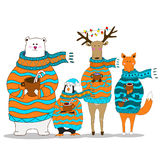 Cute fox christmas holiday greeting card vector. Stock. Fox wearing scarf and pullover Royalty Free Stock Photo
