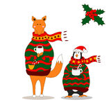 Cute fox christmas holiday greeting card vector. Stock. Fox wearing scarf and pullover Vector Illustration