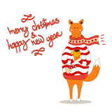 Cute fox christmas holiday greeting card vector. Stock. Fox wearing scarf and pullover Royalty Free Stock Images