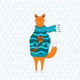 Cute fox christmas holiday greeting card vector. Stock. Fox wearing scarf and pullover Stock Illustration