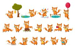 Cute fox cub character doing different activities set, funny forest animal in different situations vector Illustrations. Isolated on a white background Royalty Free Stock Photo