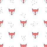 Cute fox faces vector seamless pattern Stock Photos