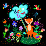 Cute fox with floral background and plate with empty space for text. Royalty Free Stock Photos