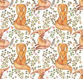 Cute fox and flowers seamless pattern. Fashionable template for design of clothes. Classical embroidery seamless stock illustration