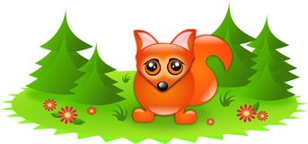 Cute fox in forest Royalty Free Stock Images