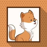 Cute fox frame picture. Vector illustration eps 10 Royalty Free Stock Photo