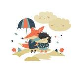 Cute fox and hedgehog walking under umbrella Royalty Free Stock Photography