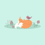 Cute fox lies on lawn in forest with bird and flowers in cartoon style Stock Photo