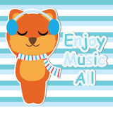 Cute Fox listen music on striped background  cartoon, Baby shower postcard, wallpaper, and greeting card, T-shirt design for Royalty Free Stock Photos