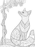 Adult coloring book,page a cute fox looks at the grapes  image for relaxing.Zen art style illustration. Stock Photo