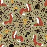 Cute fox mushroom leave seamless pattern stock illustration