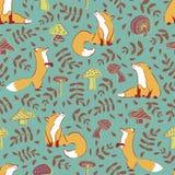 Cute fox mushroom leave seamless pattern vector illustration