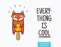 Cute fox popsicle illustration. Vector ice cream Stock Photography