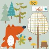 Cute Fox on a postcard with wildlife and inscription. Vector design, children`s illustration. vector illustration