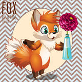 Cute Fox present you a flower. series postcards with cartoon character Fox Royalty Free Stock Photos