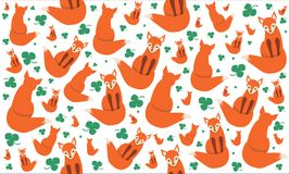 Cute fox. Pretty pattern with red fox on white background Stock Image