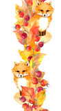 Cute fox, red leaves, berries - autumn border. Watercolor frame Stock Photo