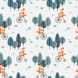 Cute fox is riding bicycle in the forest. Animal cartoon concept Royalty Free Stock Photography