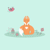 Cute fox sitting on lawn in forest with bird and flowers in cartoon style Stock Image
