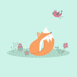 Cute fox sitting on lawn in forest with bird and flowers in cartoon style Royalty Free Stock Photography