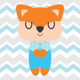 Cute fox sleeps on chevron background vector cartoon illustration for kid t shirt design Royalty Free Stock Photos