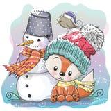 Cute Fox and snowman Stock Photos