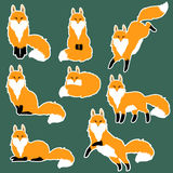 Cute fox sticker set Royalty Free Stock Photos