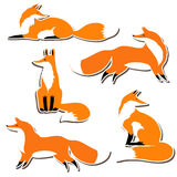 Cute fox sticker set Royalty Free Stock Photo